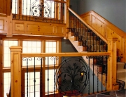 finelli iron works custom hand forged traditional style staircase railing and staircase balcony in shaker heights