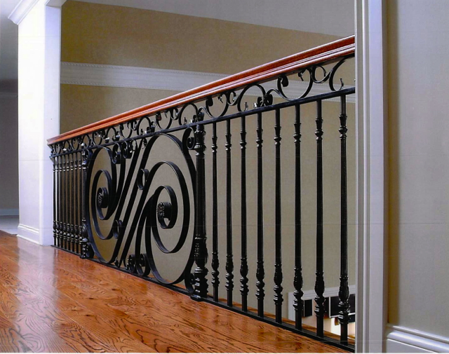 Finelli Architectural Iron And Stairs Custom Hand Forged Balcony With Wood Railing Cap In Pepper