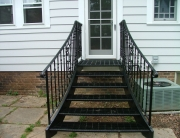 finelli architectural iron and stairs custom steel staircase for backdoor entrance to patio in hudson ohio