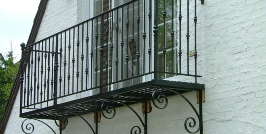 finelli iron works custom handmade wrought iron exterior balcony in hudson ohio