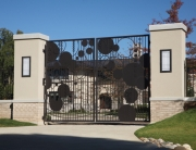 Finelli architectural iron and stairs custom contemporary iron and steel driveway gate in cleveland ohio
