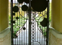 finelli iron and stairs custom contemporary exterior walkway security gate with unique design in bay ohio