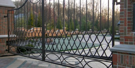 Finelli architectural iron and stairs custom forged iron driveway gate in rocky river ohio