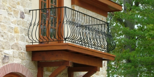 finelli iron works custom exterior wrought iron balcony in hunting valley ohio