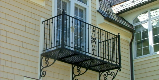 finelli ironworks custom wrought iron exterior balcony railing in scrollwork in avon ohio
