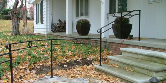 finelli iron custom contemporary style exterior front walkway ramp railing in pepper pike ohio