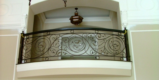 Finelli ironworks custom hand forged unique and strong wrought iron interior balcony in waite hill ohio