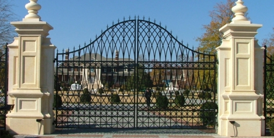 Finelli Architectural Iron and Stairs custom forged iron driveway gate handmade in cleveland ohio
