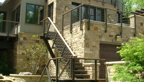 finelli custom staircase contemporary iron and steel staircase with exterior balcony in hunting valley ohio