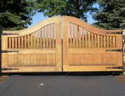 Finelli Architectural Iron and Stairs custom wood driveway gate in rocky river ohio