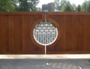 finelli architectural iron and stairs custom cedar and stainless steel driveway gate in rocky river ohio