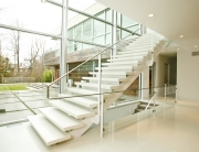 contemporary glass and steel staircase