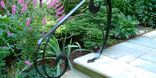 Finelli architectural iron and stairs custom forged front step railing in hunting valley ohio