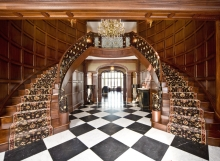 beautiful wood and iron double staircase