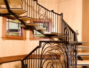 Incredible wood and iron steel staircase