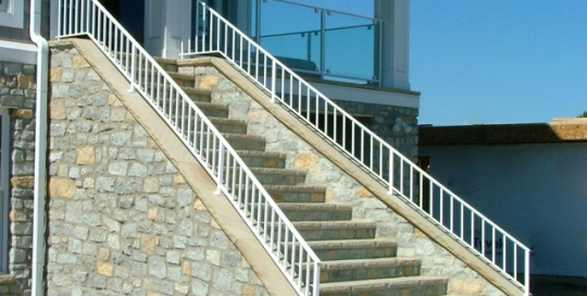 Finelli architectural iron and stairs custom exterior iron staircase railing and balcony in westlake ohio