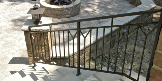 finelli architectural iron and stairs custom exterior contemporary back porch iron railing in hunting valley ohio