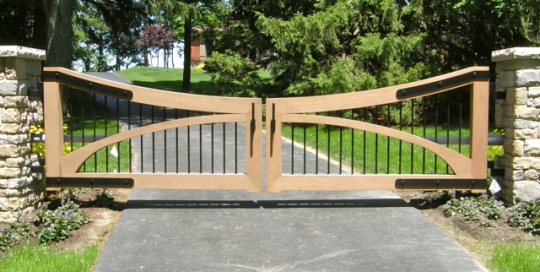 Finelli Architectural Iron and Stairs custom wood and iron elegant driveway gate in shaker heights ohio