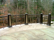 finelli architectural iron and stairs custom exterior patio railing with post lights