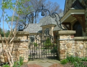 Finelli architectural iron and stairs handmade exterior iron man gate with decorative iron arch in gates mills ohio