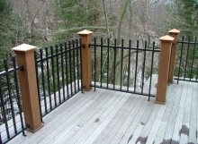 Custom wood and iron porch railing strong and sturdy handmade in cleveland ohio by Finelli Architectural Iron and Stairs