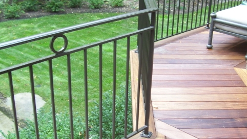 Finelli architectural iron and stairs custom back porch railing in avon lake