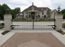 Finelli Architectural Iron and Stairs custom wrought iron fancy gold driveway gate
