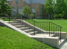 Finelli Iron works custom wrought iron exterior stair railing handmade in Cleveland Ohio