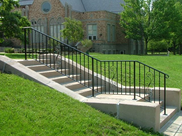 Finelli Iron Works Custom Wrought Exterior Stair Railing Handmade In Cleveland Ohio
