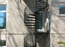strong custom iron two story exterior spiral staircase made by finelli architectural iron and stairs