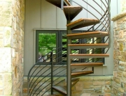 custom wood tread and iron spiral staircase handmade in northeast ohio by finelli architectural iron and stairs