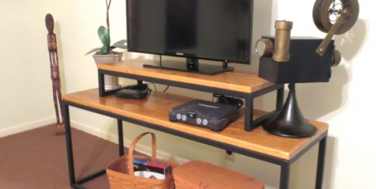 Finelli Ironworks Custom handmade wood and iron tv stand located in apartment in downtown cleveland, ohio