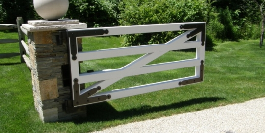 Finelli Architectural Iron and Stairs wood driveway gate custom made in cleveland ohio