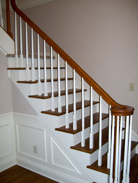 White Spindles With Cherry Stained Handrail
