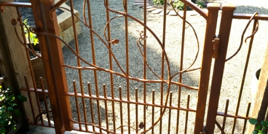 Finelli architectural iron and stairs custom handmade exterior rustic vine style garden entry gate quality made in hunting valley ohio