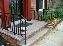 finelli iron works custom handmade contemporary style front porch iron step railing in hudson ohio