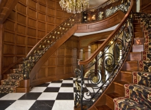 finelli architectural iron and stairs custom forged wrought iron staircase with handmade gold leaves and custom mahogany wood staircase quality made in hunting valley ohio