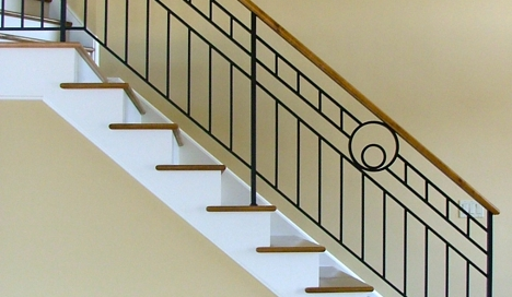 Finelli architectural iron and stairs custom handmade modern art deco style railing custom made in hudson ohio
