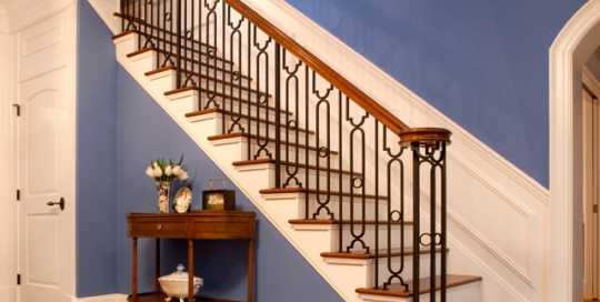 Finelli architectural iron and stairs custom handmade contemporary iron and wood staircase railing with balusters quality made in hunting valley ohio