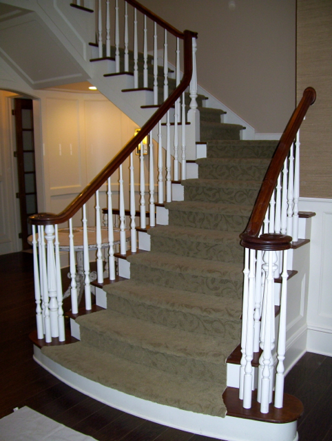 White Spindles With Cherry Stained Handrail Finelli