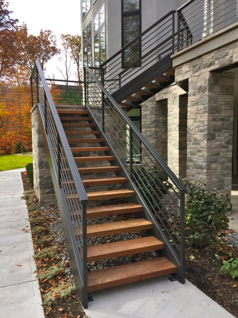 Iron and wood stairs archives finelli ironworks for Exterior stairs