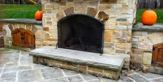 Finelli architectural iron and stairs custom handmade outdoor patio decorative fireplace screen handmade in waite hill ohio