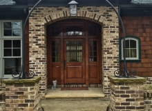 finelli ironworks custom hand made wrought iron entrance arch with lamp in cleveland ohio