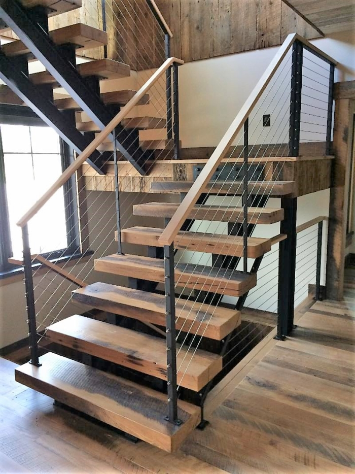 Double Beam Staircase With Cable Railing System
