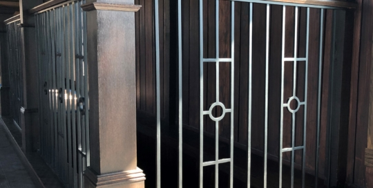 transitional iron railing