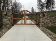 wood and steel driveway gates