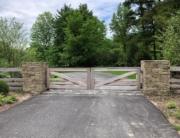 custom spanish cedar driveway gates